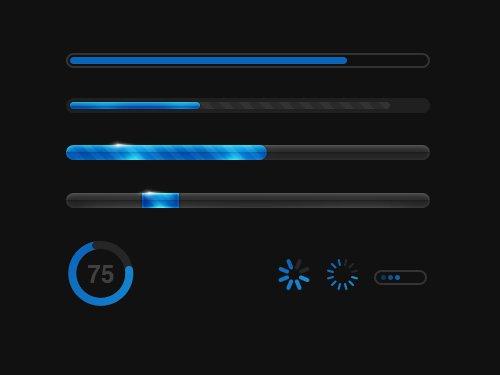 蓝黑色进度条 进度条-第1张