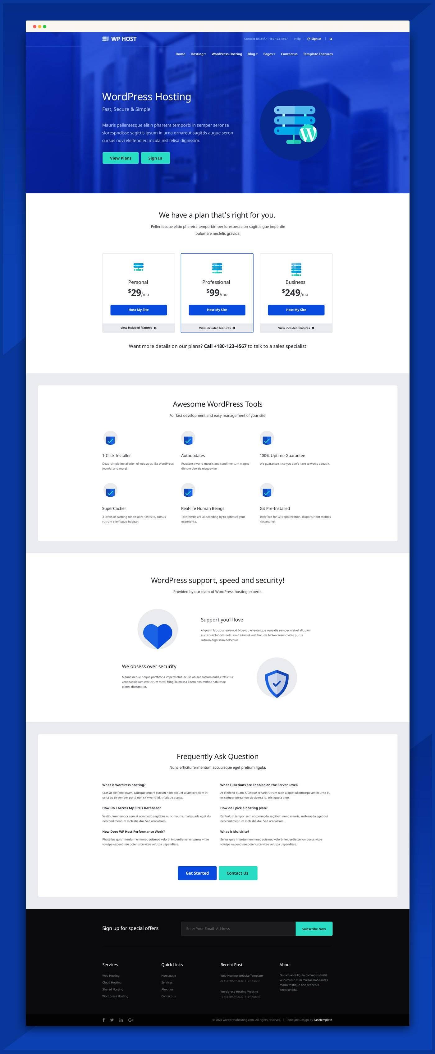 网站托管服务网站模板 psd素材下载