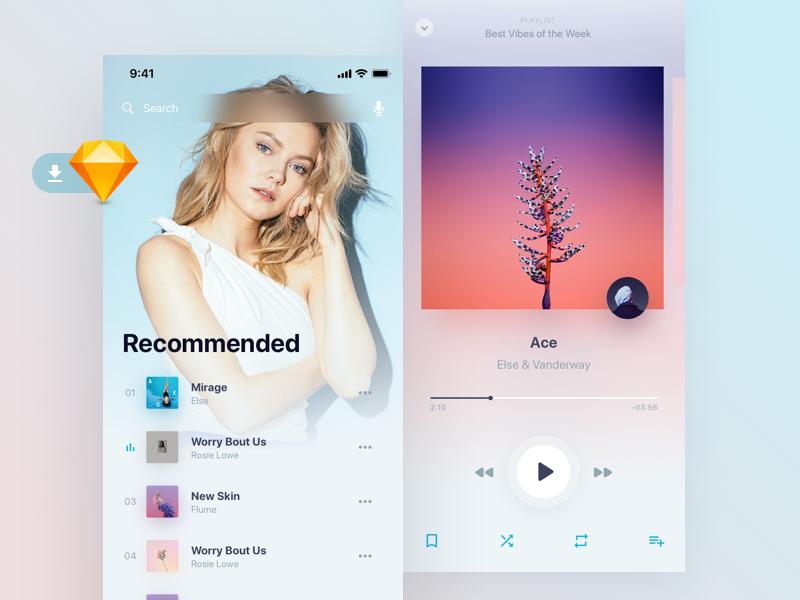 Holo音乐app UI界面设计  .sketch素材下载 界面-第1张
