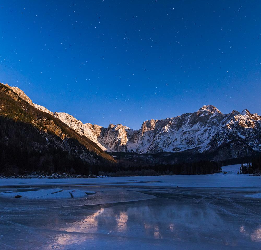 星空 雪山 山 冰面 冰裂 河流 冰河 夜景 自然风景-第1张