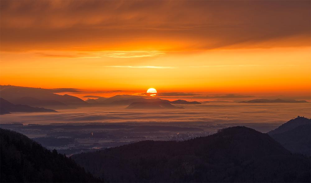 日出 日落 云海 雪山   黄昏 自然风景-第1张
