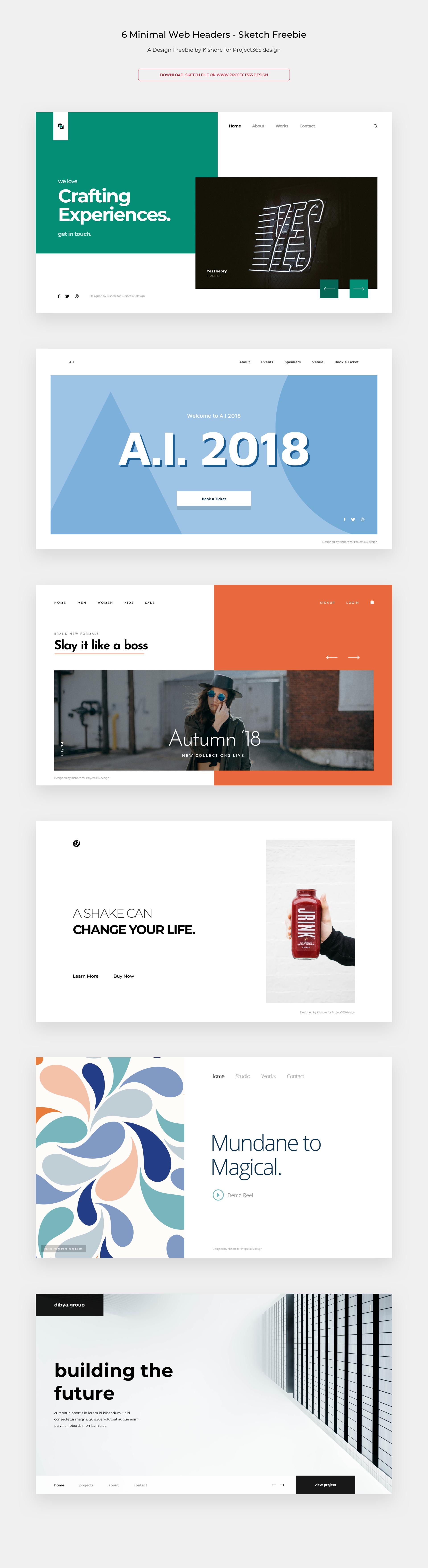 简洁的6个网站TOP banner设计 .sketch素材下载 网页模板-第1张