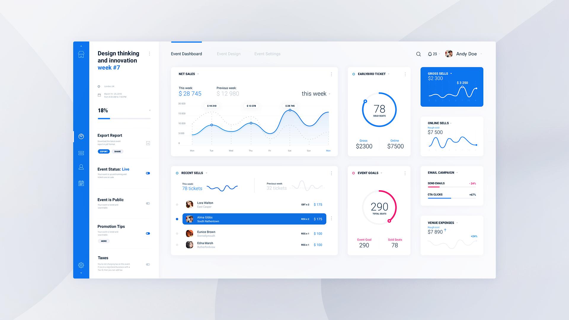 蓝色简洁的后台管理UI界面设计 APP欣赏-第1张