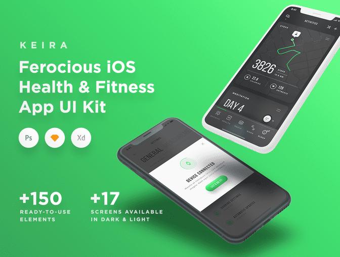 多种格式Keira 运动健身类 iOS UI Kit  .sketch素材下载 主题包-第1张