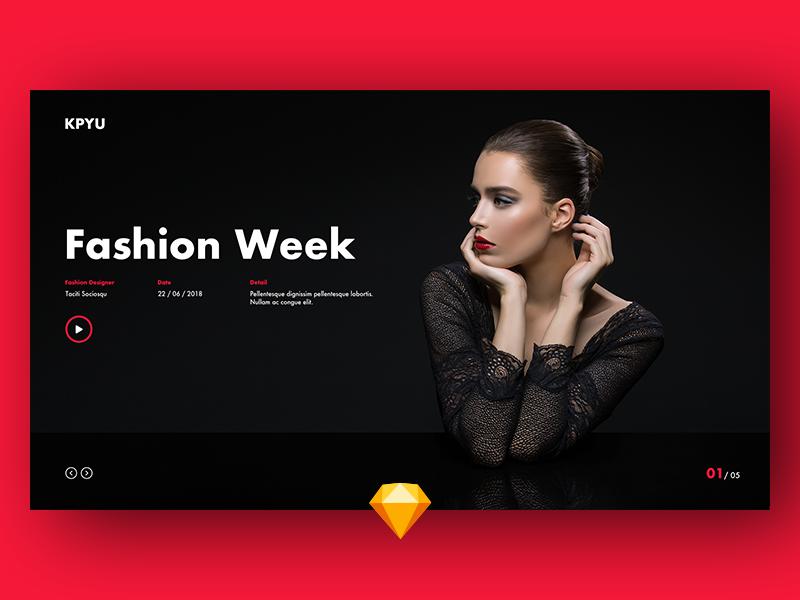 红色时尚网站首页UI设计 .sketch素材下载 网页模板-第1张