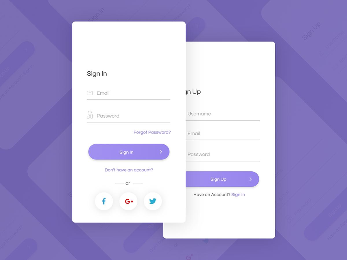 非常简洁的app 登录&注册UI界面设计 .xd素材下载 界面-第1张