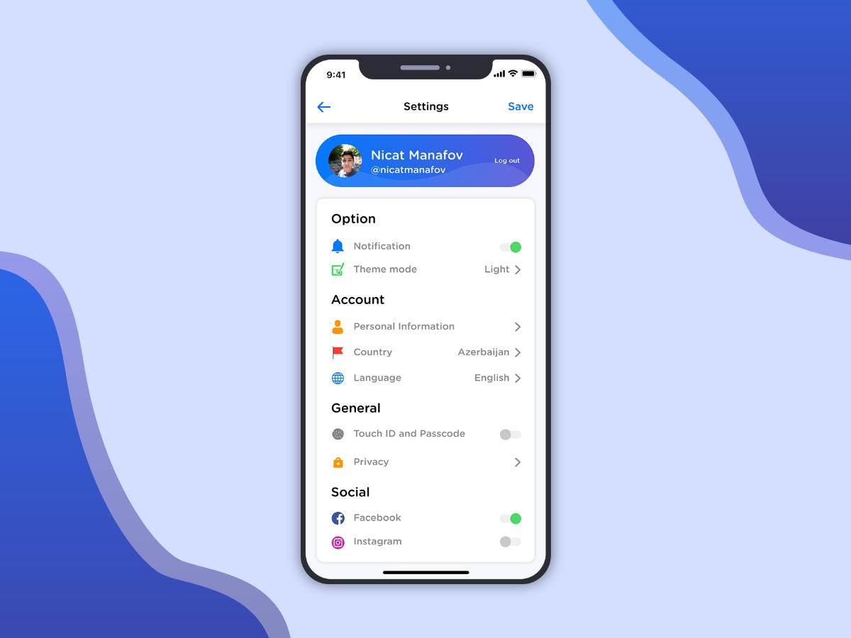 简洁的app 用户设置UI界面设计.xd素材下载 界面-第1张