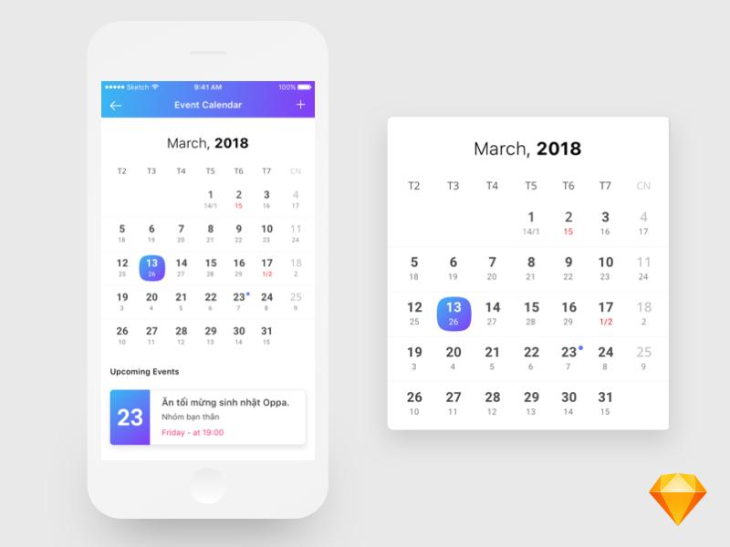 Lunar 日历 App UI界面设计 .sketch素材下载 时间日期-第1张