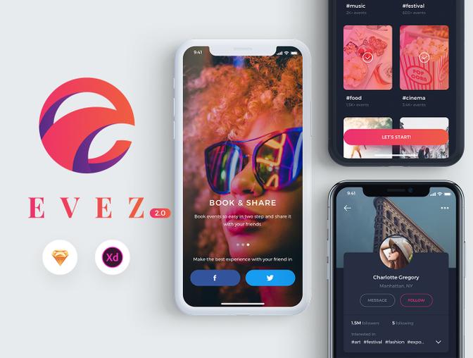 EVEZ社交类App UI Kit主题包 .Sketch素材下载 & .XD素材下载 主题包-第1张