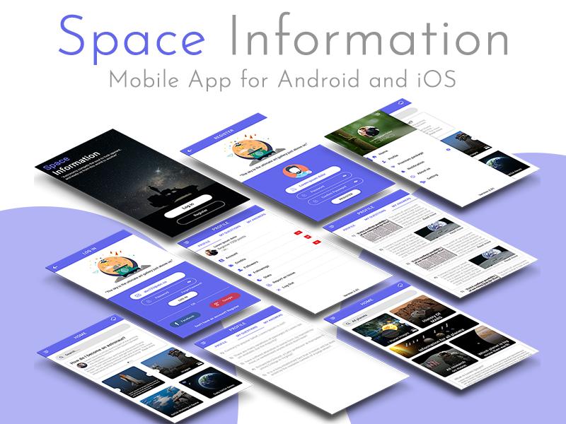新闻资讯Space App ui 界面设计 .psd素材下载 界面-第1张