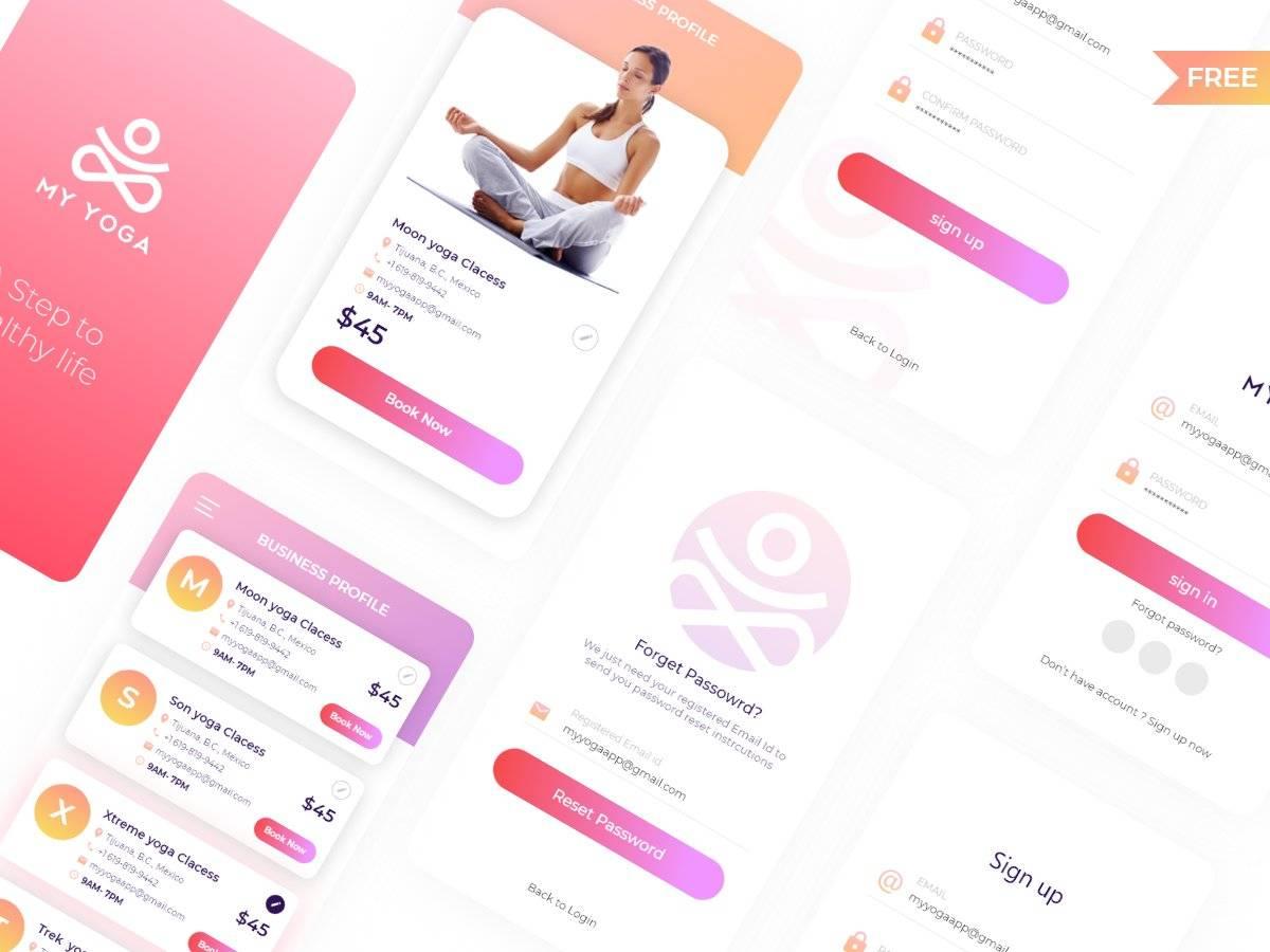 瑜伽app ui 界面设计.xd素材下载 界面-第1张