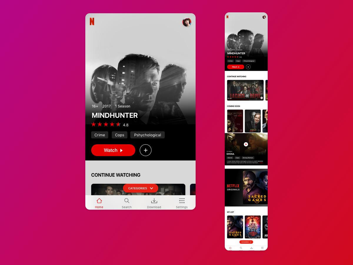 Netflix视频 App UI界面设计 .sketch素材下载 界面-第1张
