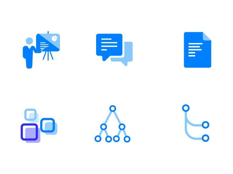 一组蓝色商务图标.ai & .svg下载 图标-第1张