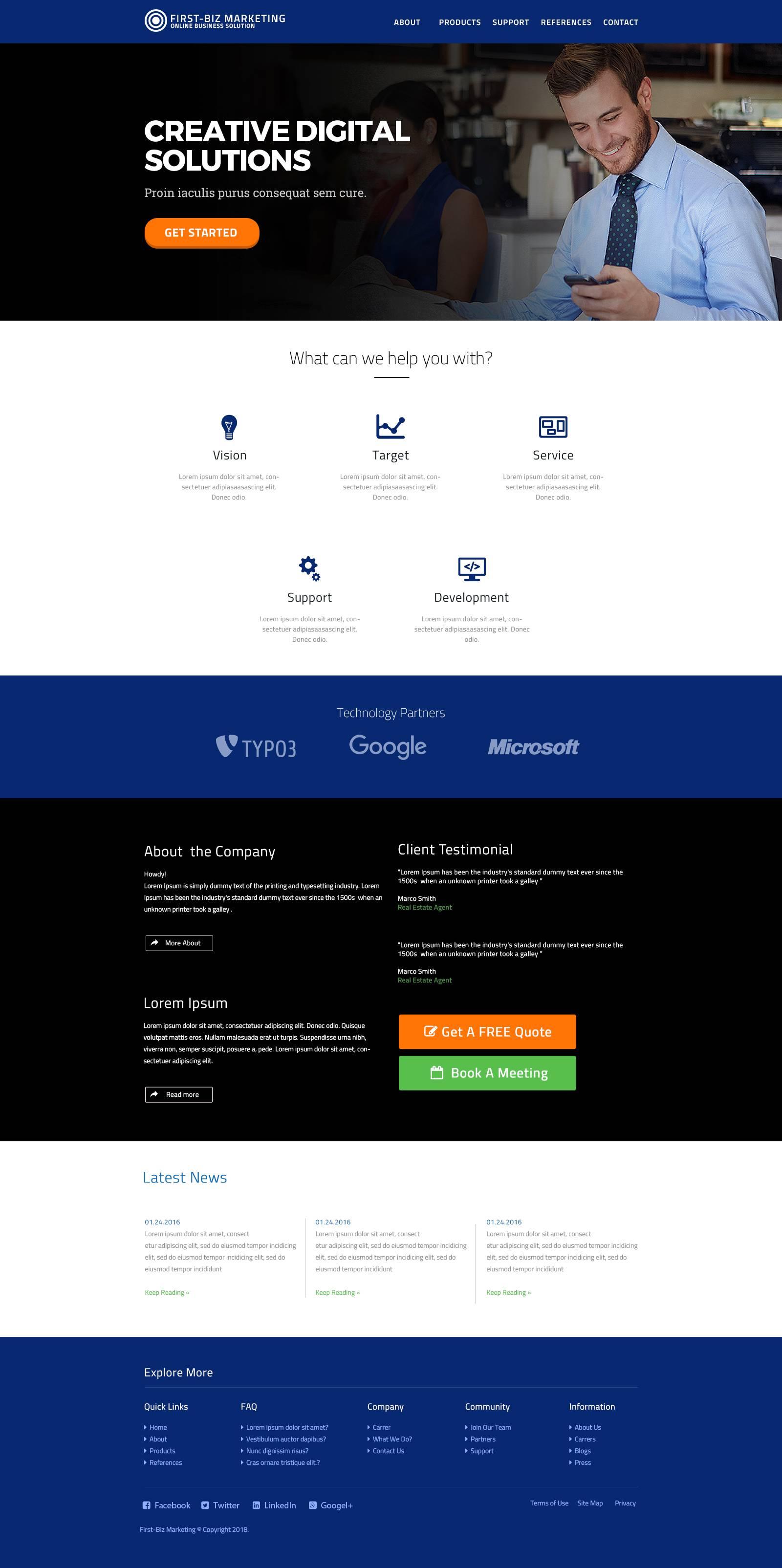 First Biz Marketing Page 网页模板 .psd素材下载 网页模板-第1张
