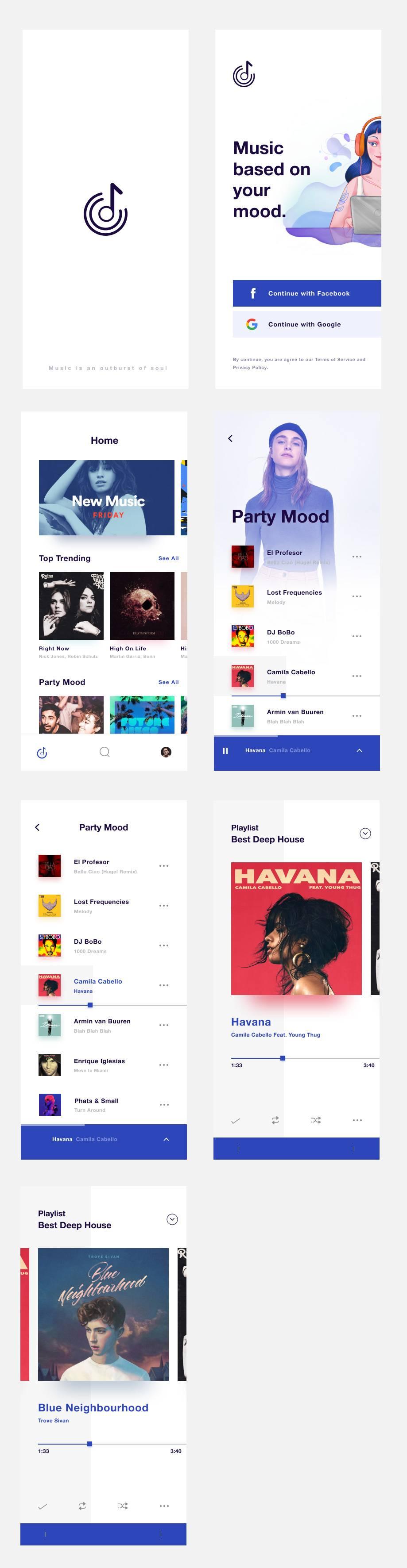 音乐app ui界面设计 .sketch素材下载 界面-第1张