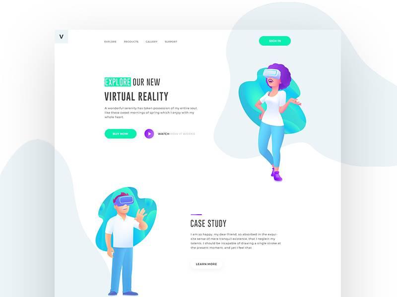 2个VR插画 着陆页 .psd素材下载 其他-第1张