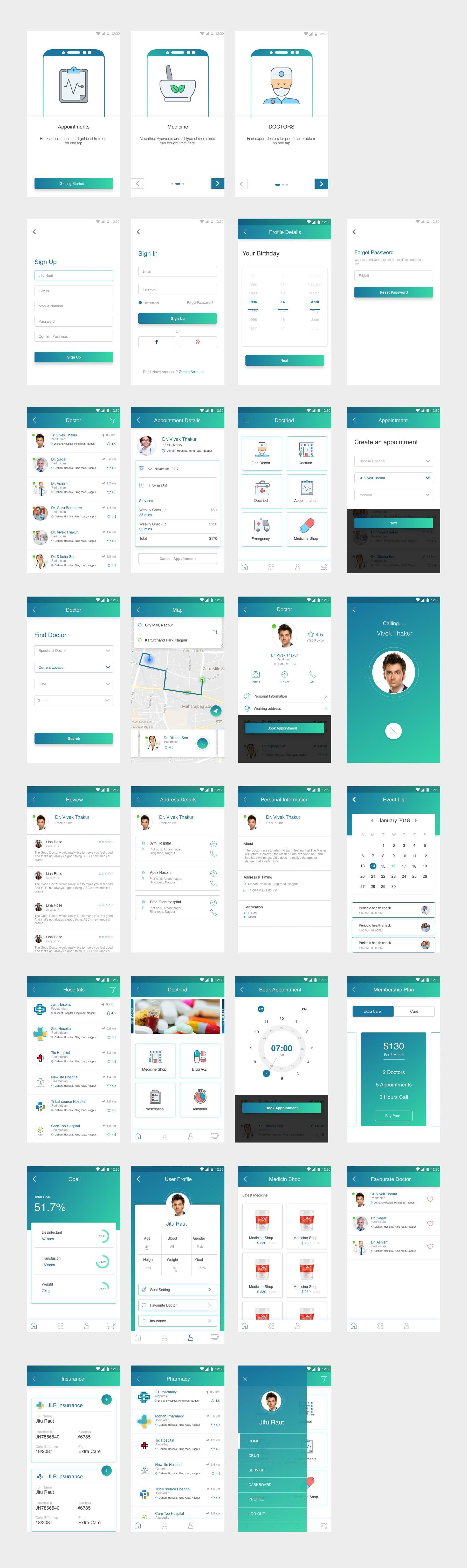 整套医疗app UI设计(32个页面).xd素材下载 界面-第1张