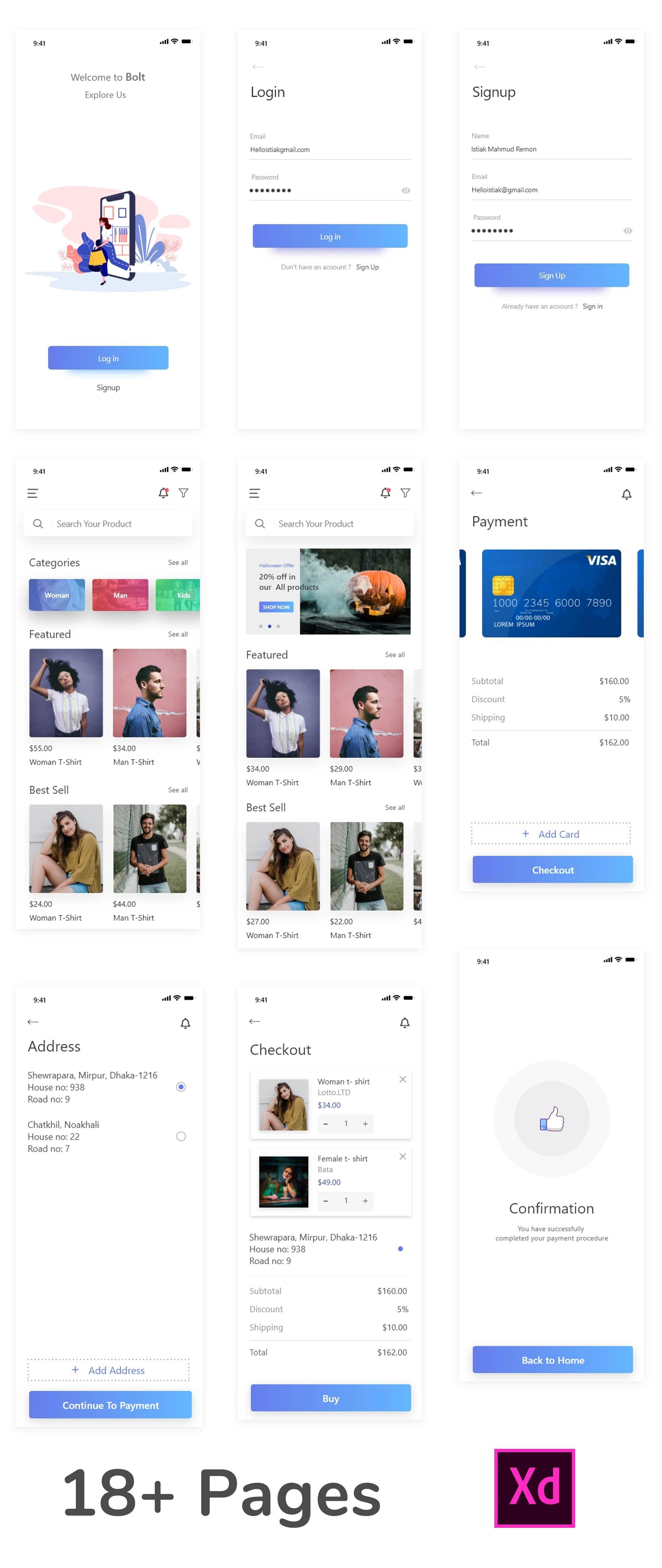 电商app bolt UI主题包 .xd素材下载 主题包-第2张
