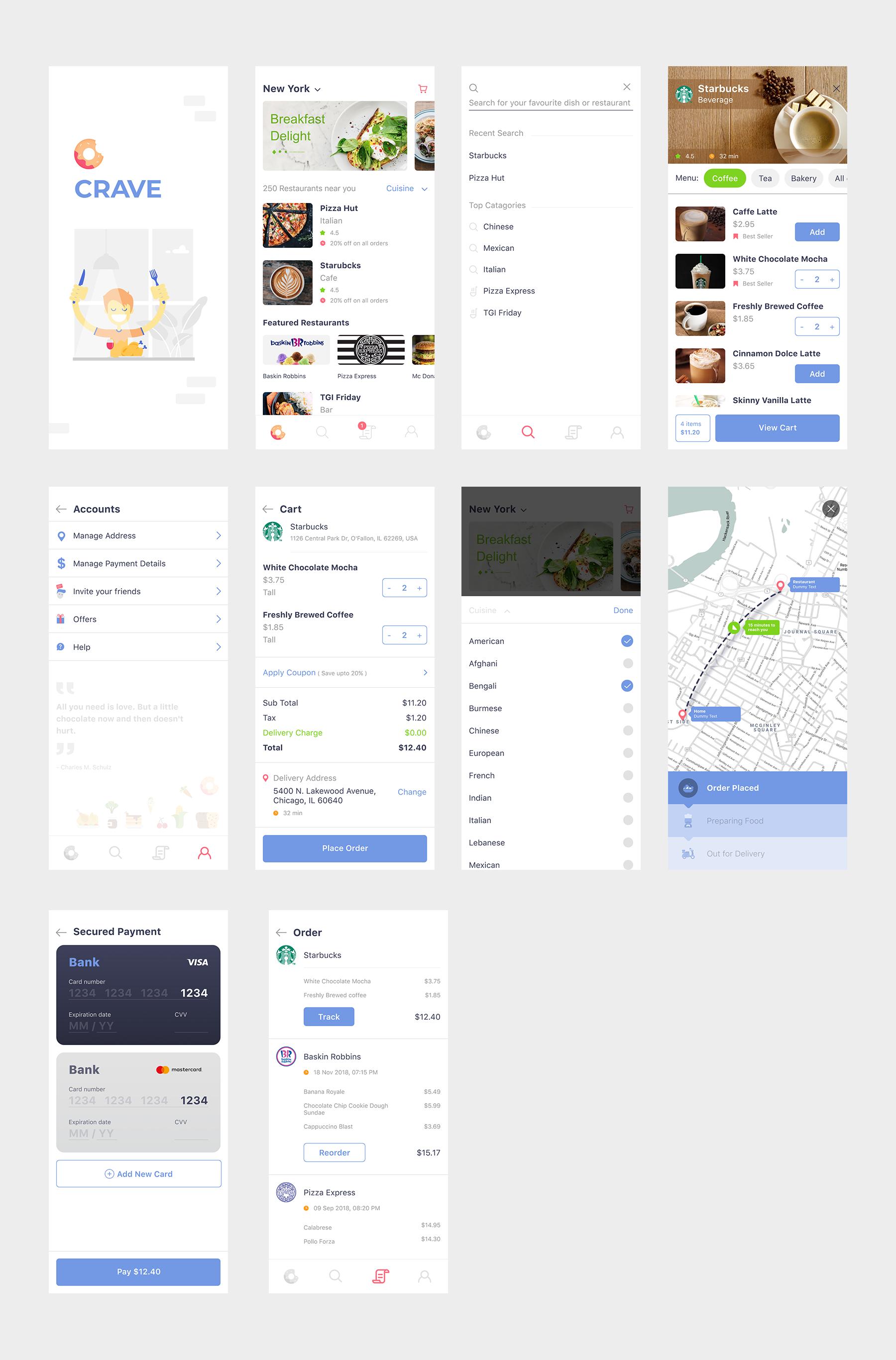 外卖app crave ui界面设计 .sketch素材下载 界面-第1张