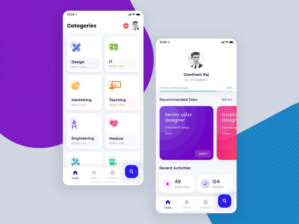 招聘app ui 界面设计.xd素材下载 界面-第1张