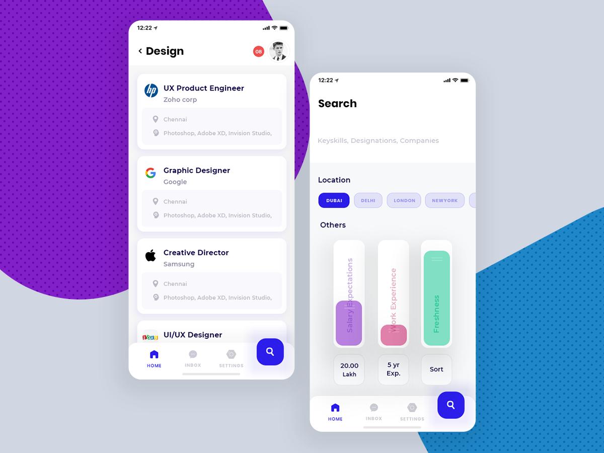 招聘app ui 界面设计.xd素材下载 界面-第2张