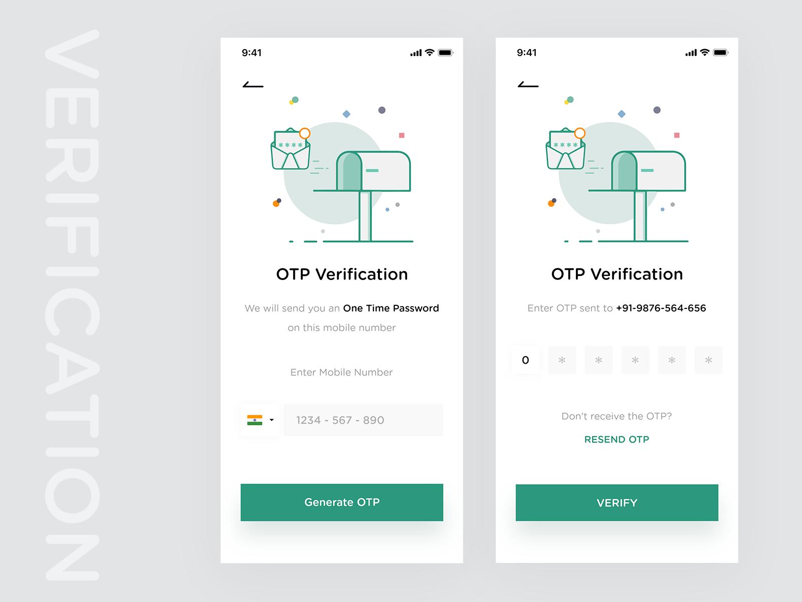 手机app验证页面UI界面设计 .xd & .psd素材下载 界面-第1张