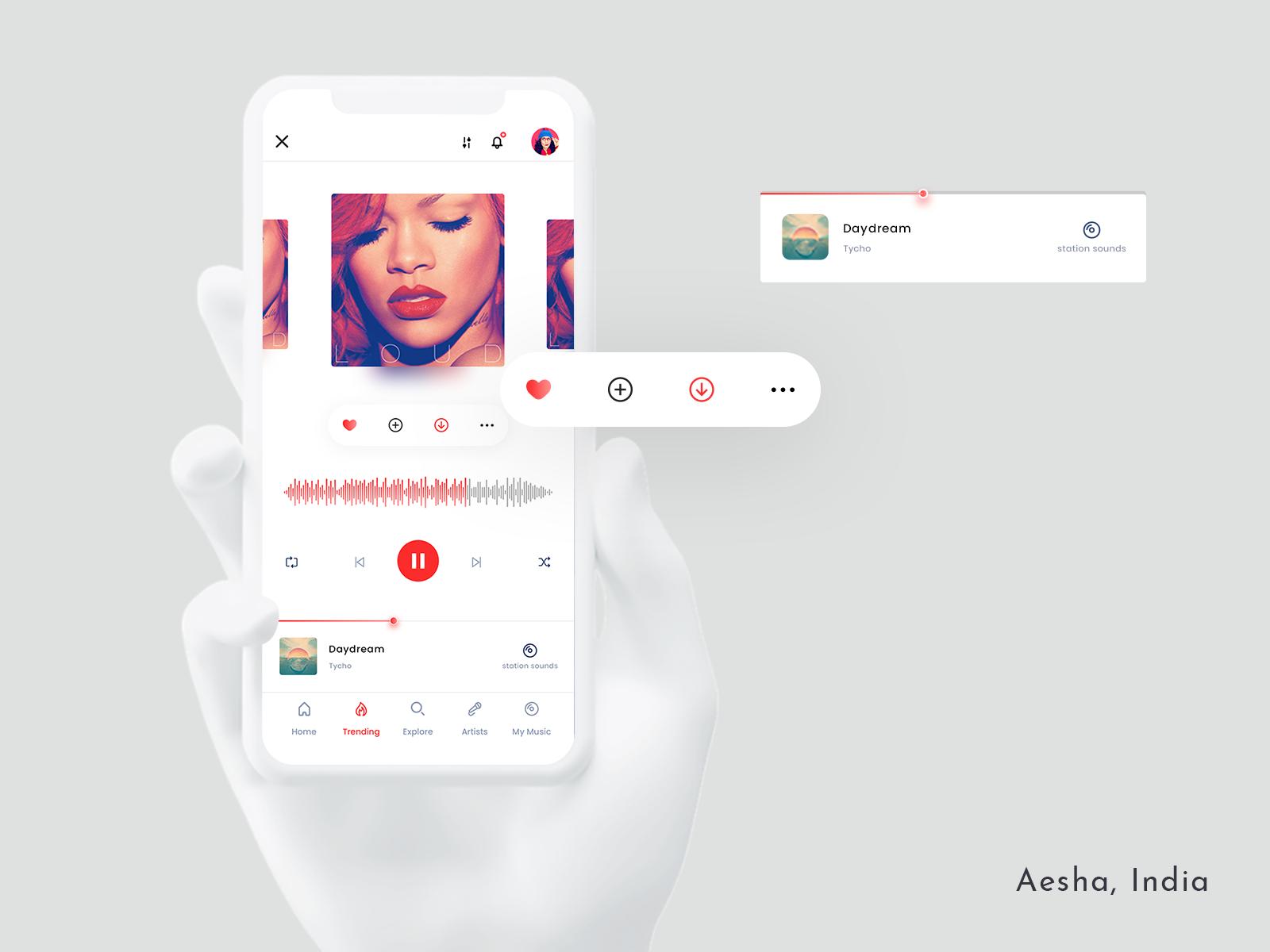 音乐播放器Music Player app ui 界面设计.psd素材下载 界面-第1张