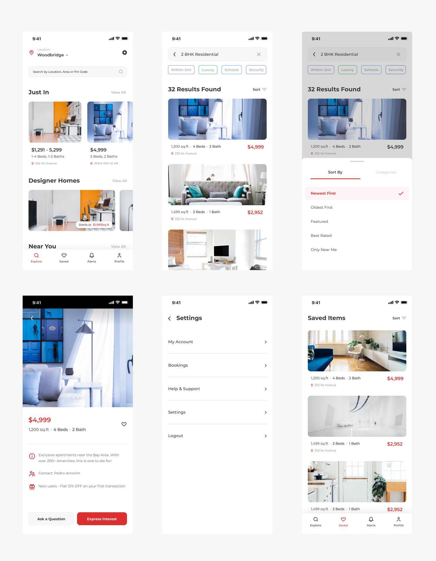 房产中介类app ui界面设计 .sketch素材下载 界面-第1张