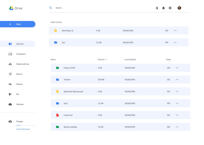 Google Drive UX 界面设计 .xd素材下载 界面-第2张