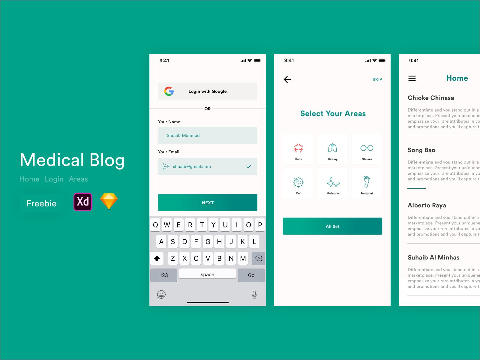 健康博客app UI界面设计 .sketch & .xd素材下载 界面-第1张
