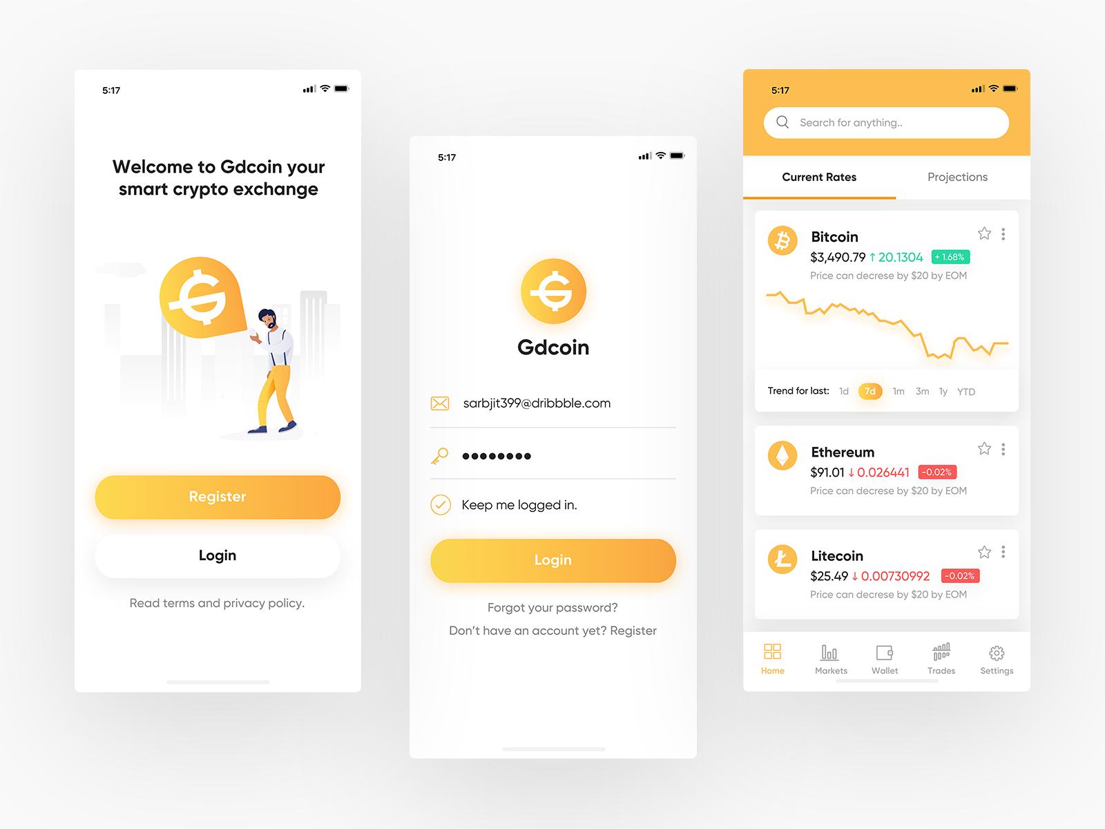 数字货币交易app ui 界面设计 .sketch素材下载 界面-第1张