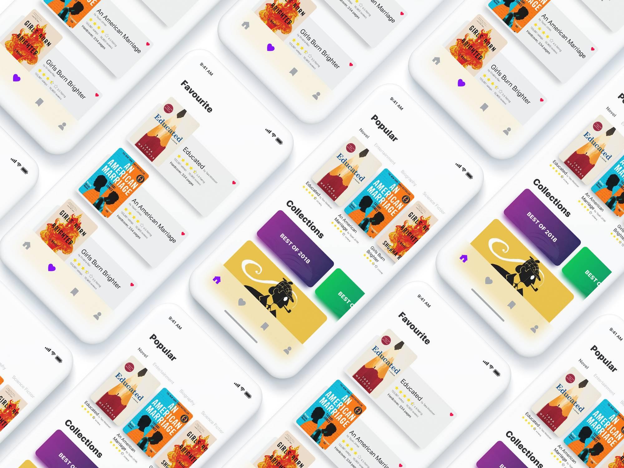 图书阅读eBook App UI界面设计 .ai素材下载 界面-第1张