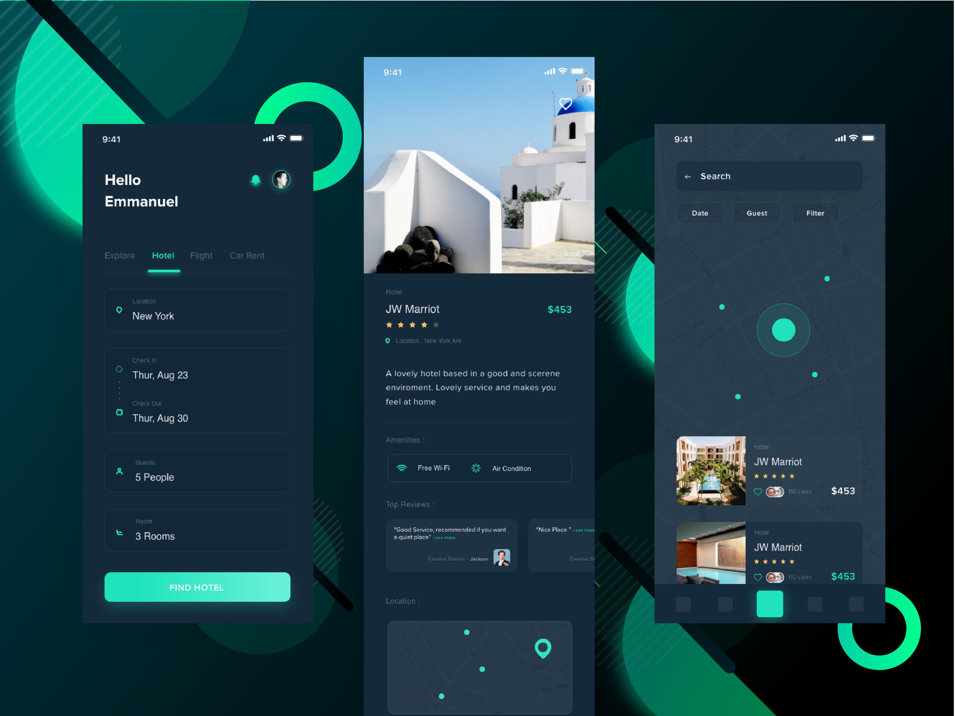 旅游app 黑/白 主题UI界面设计 .xd素材下载 界面-第1张