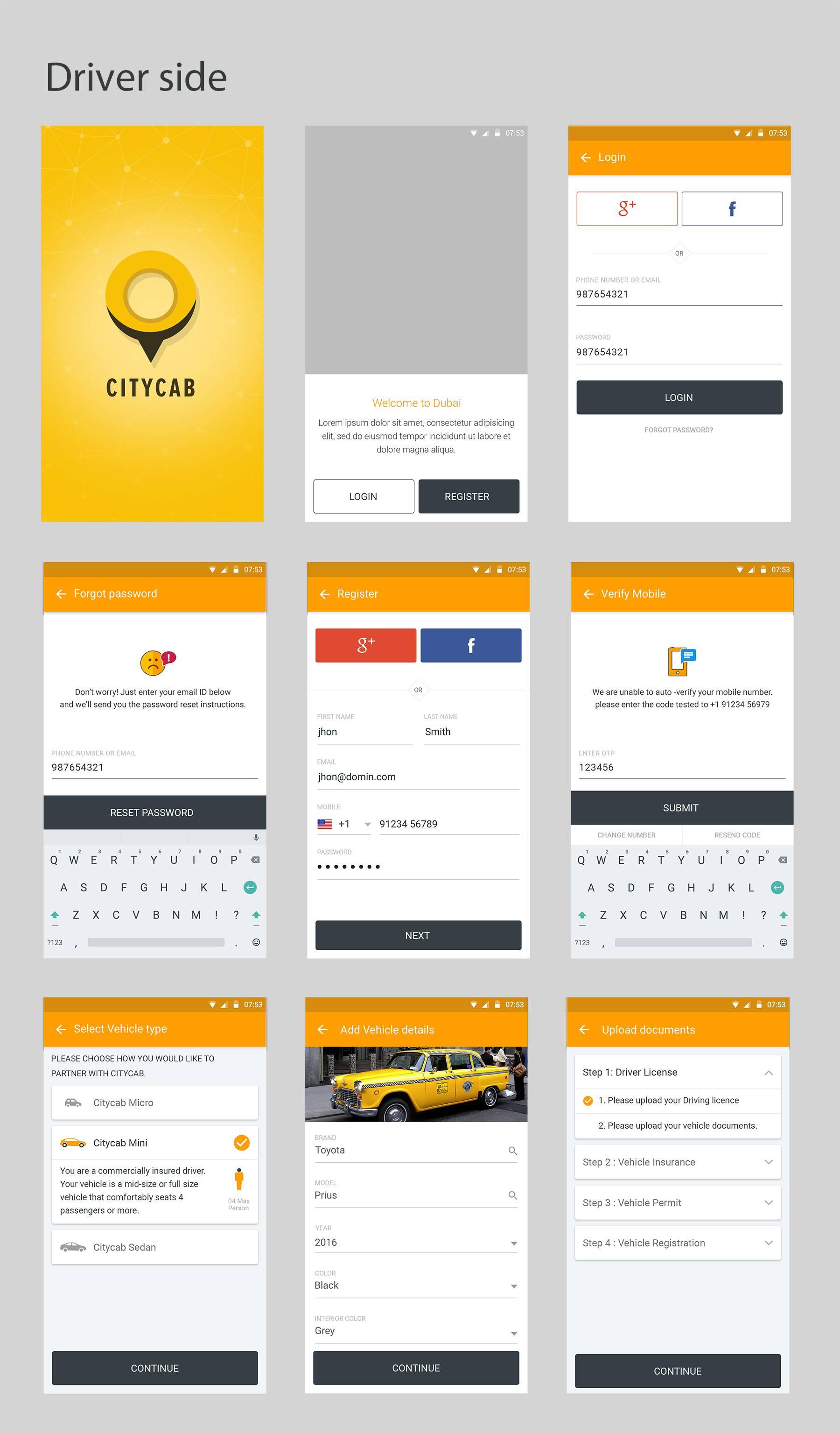 打车软件全套app ui界面设计 .psd素材下载 界面-第1张