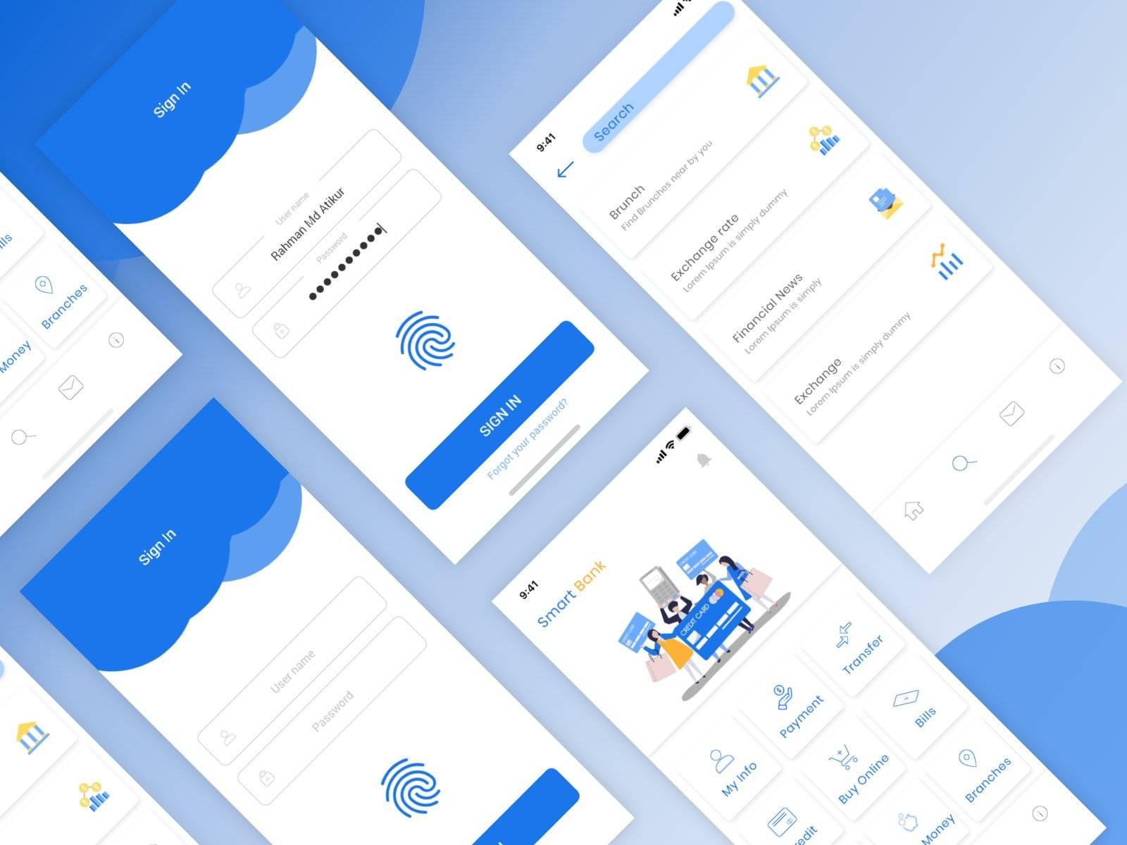 智慧银行Smart Banking App ui界面设计 .xd素材下载 界面-第1张