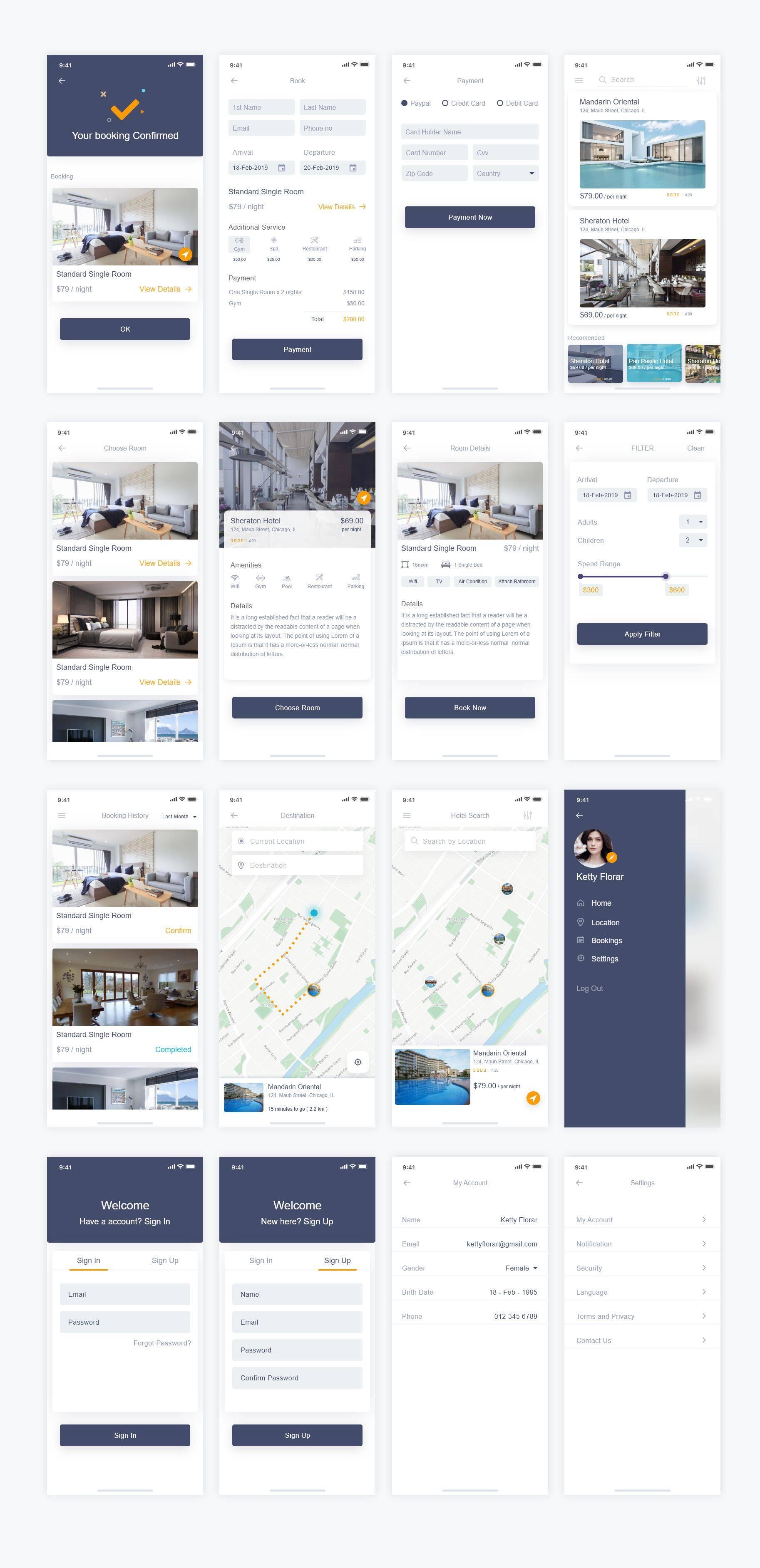 酒店预订app ui界面设计 .xd素材下载 界面-第1张