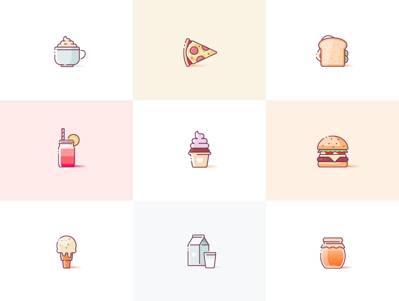 24个超级美味和多彩的美食食物图标.多种格式 VIP图标-第6张