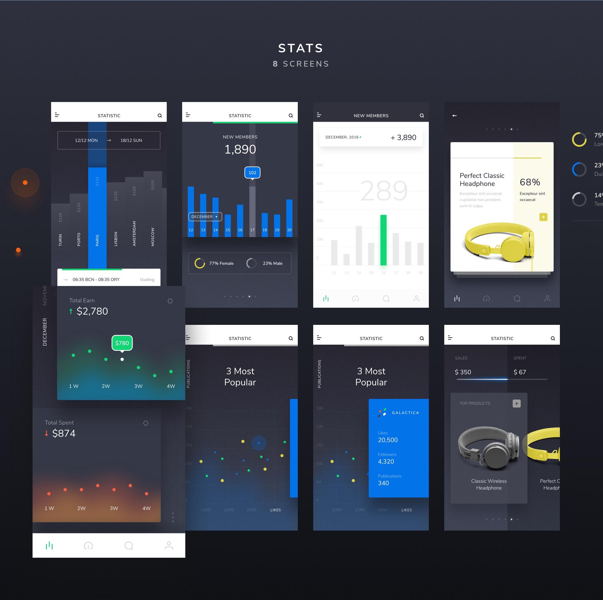 Sleek iOS UI Kit 主题包. XD素材下载 VIP主题包-第3张