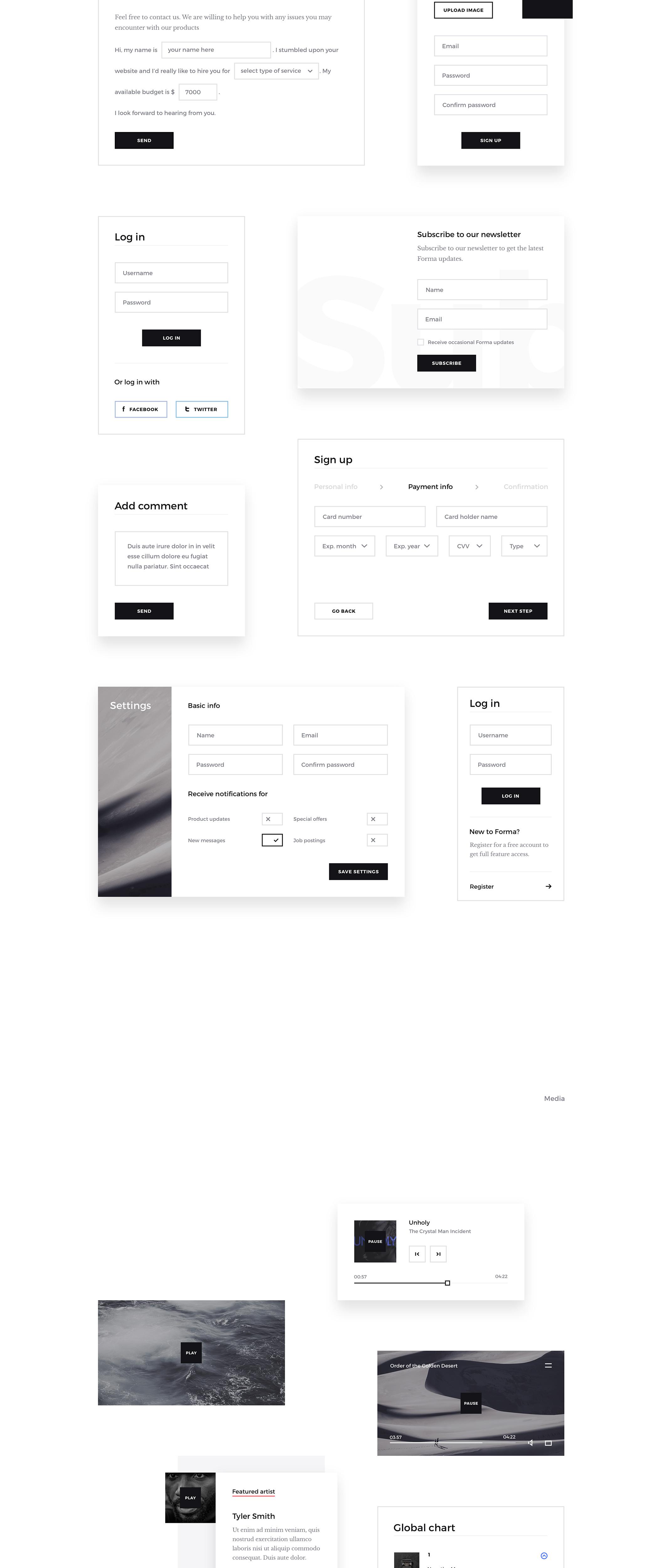 非常艺术的网站Forma UI Kit主题包.ps素材下载 VIP素材-第4张