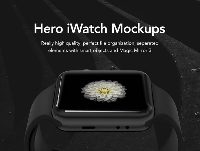 HERO apple watch mockups.psd样机素材下载 样机素材-第1张