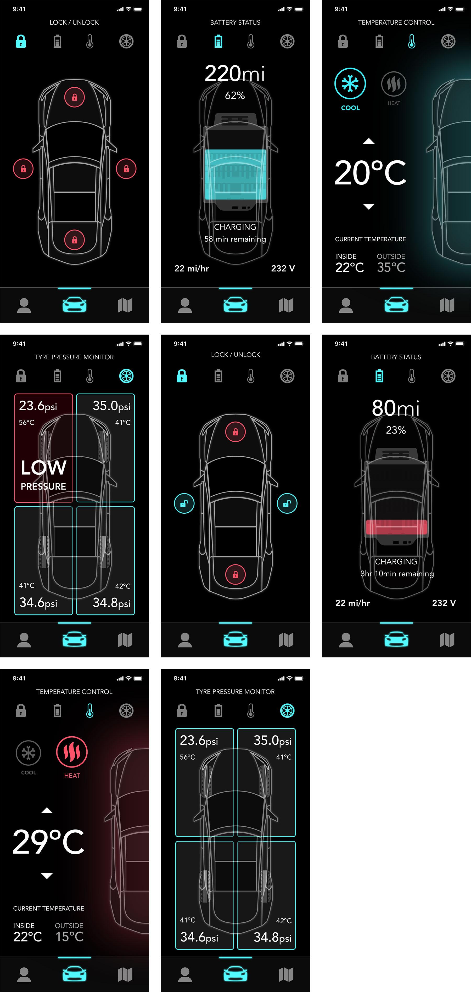 Tesla 应用概念UI界面设计.sketch素材下载 界面-第1张