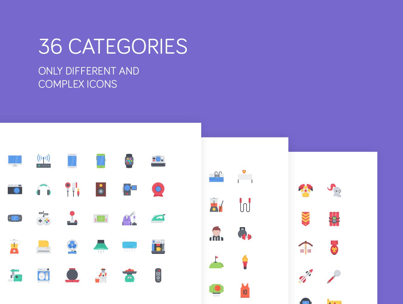 [VIP专享]一套牛逼的2000多个彩色平面icon图标.sketch&ps&ai素材下载 VIP图标-第2张
