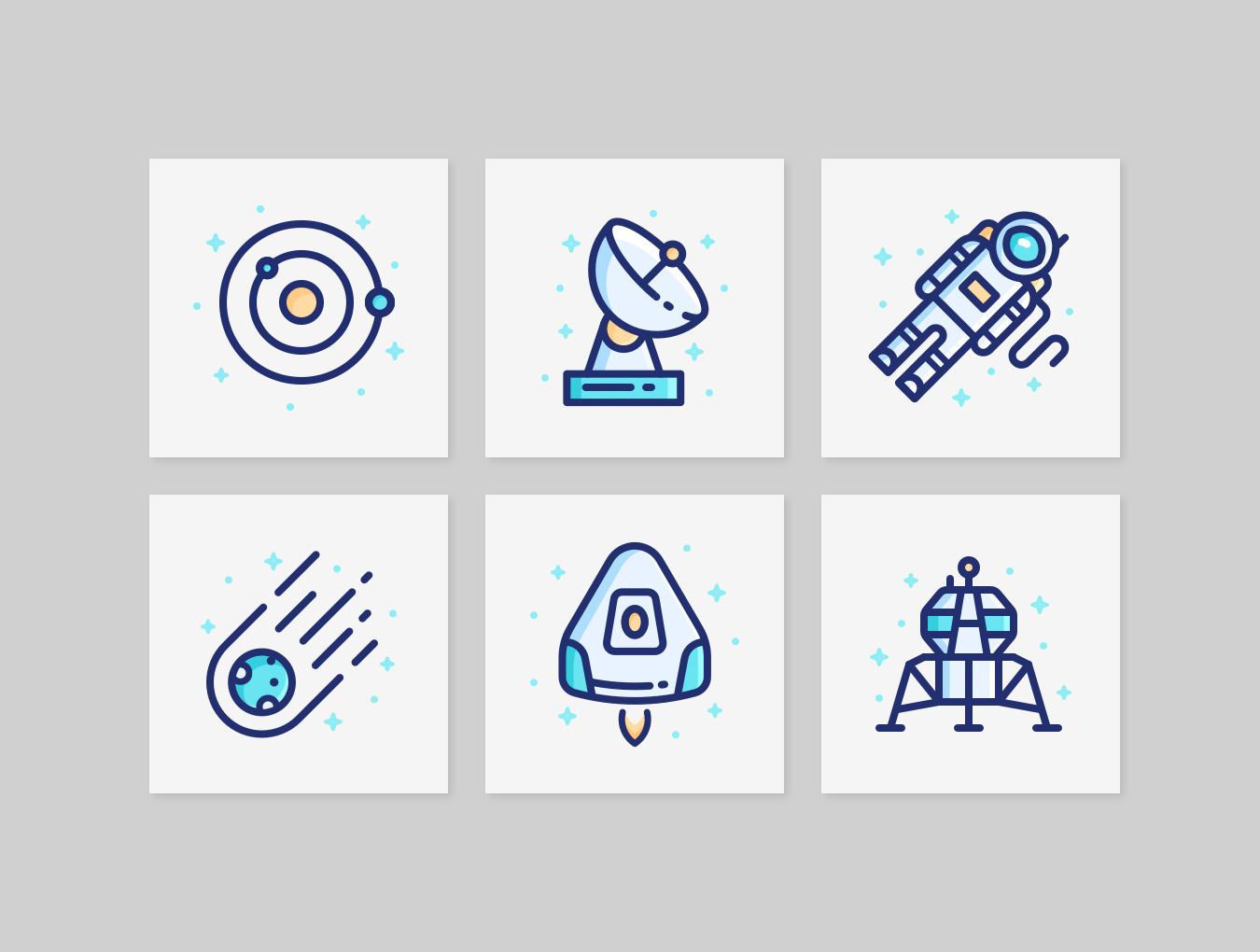 [VIP专享]28个线性卡通银河宇宙icon图标.ai素材下载 VIP图标-第2张