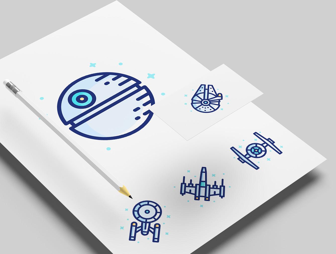[VIP专享]28个线性卡通银河宇宙icon图标.ai素材下载 VIP图标-第8张