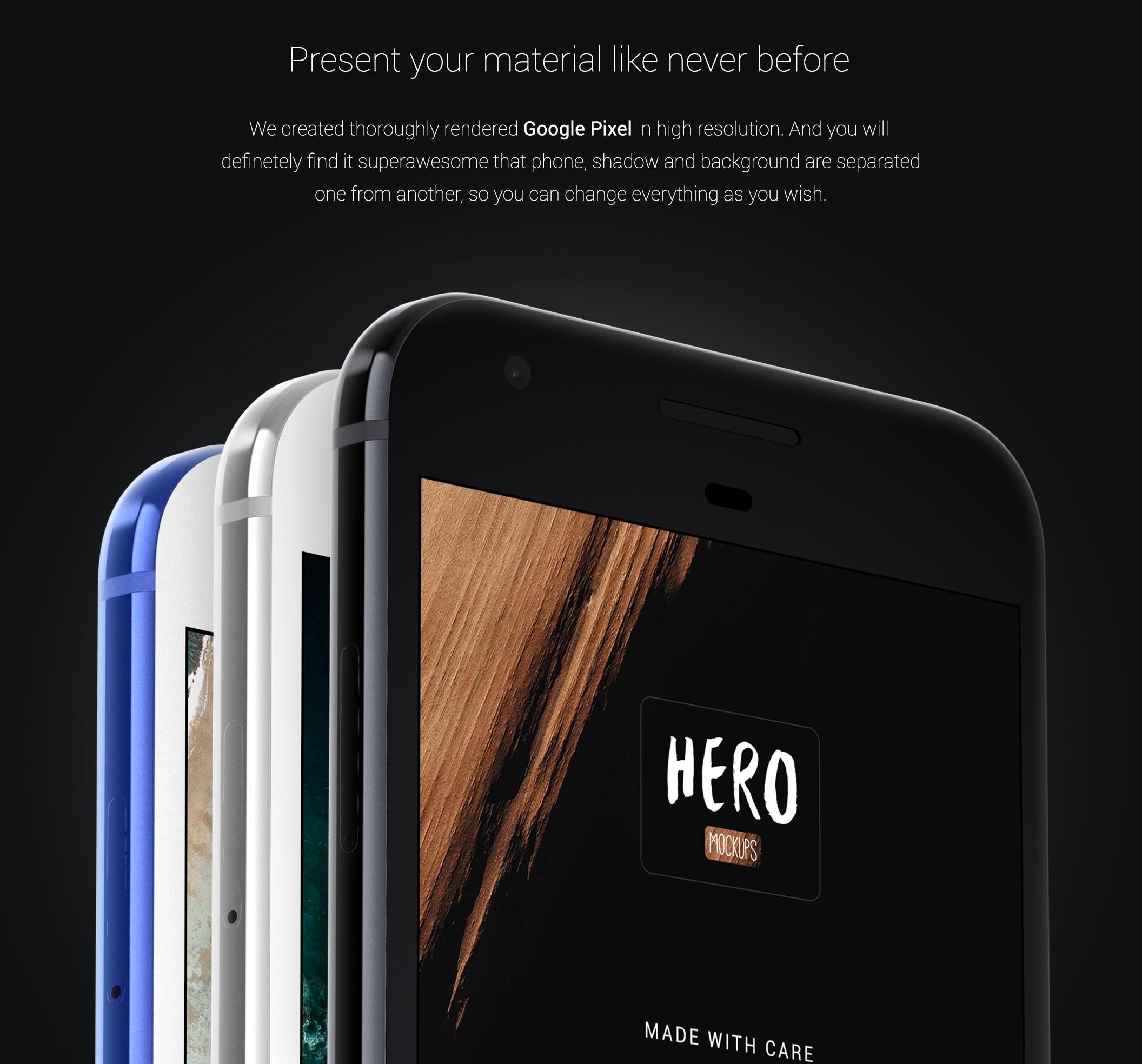 [VIP专享]HERO Google Pixel Mockups样机素材.psd素材下载 VIP样机素材-第5张