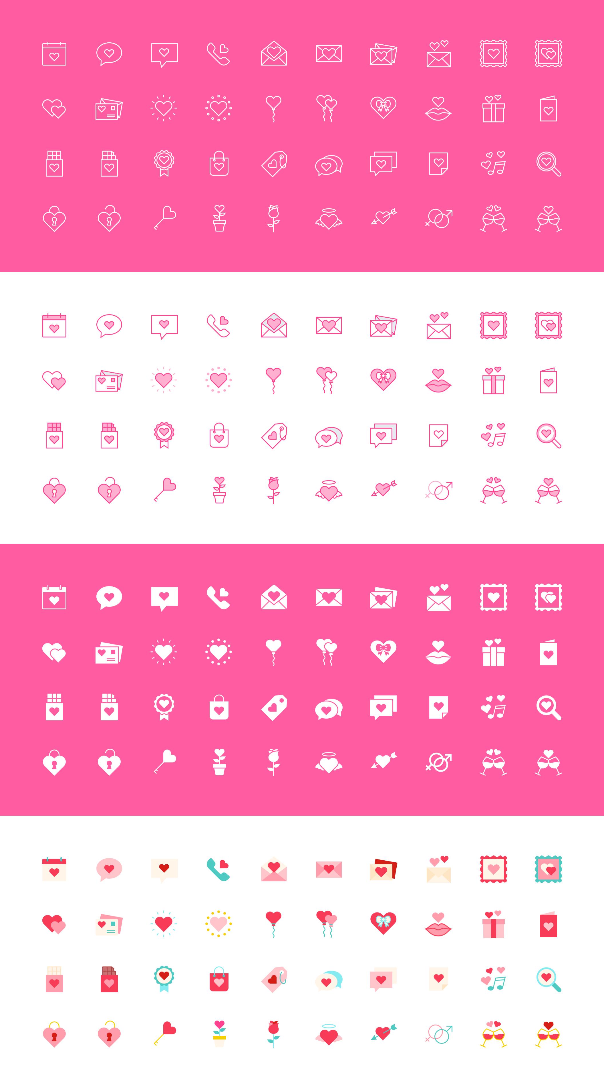[VIP专享]200个可爱的情人节图标集.sketch素材下载 VIP图标-第1张