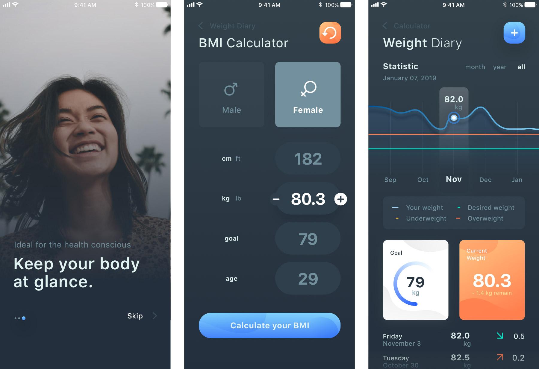 运动健身BMI计算器应用界面设计.sketch素材下载 界面-第1张