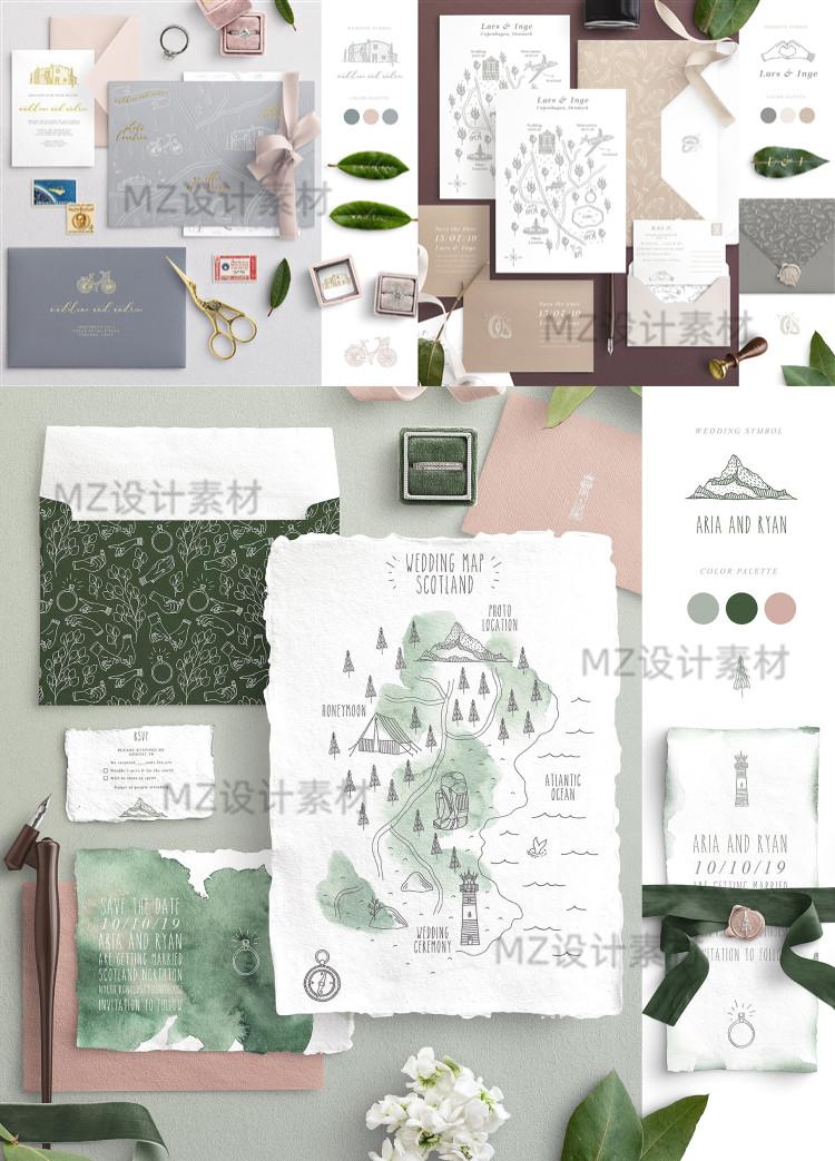 手绘线稿ins风植物动物建筑物花环婚礼地图矢量插画PNG图ps素材 素材包-第1张