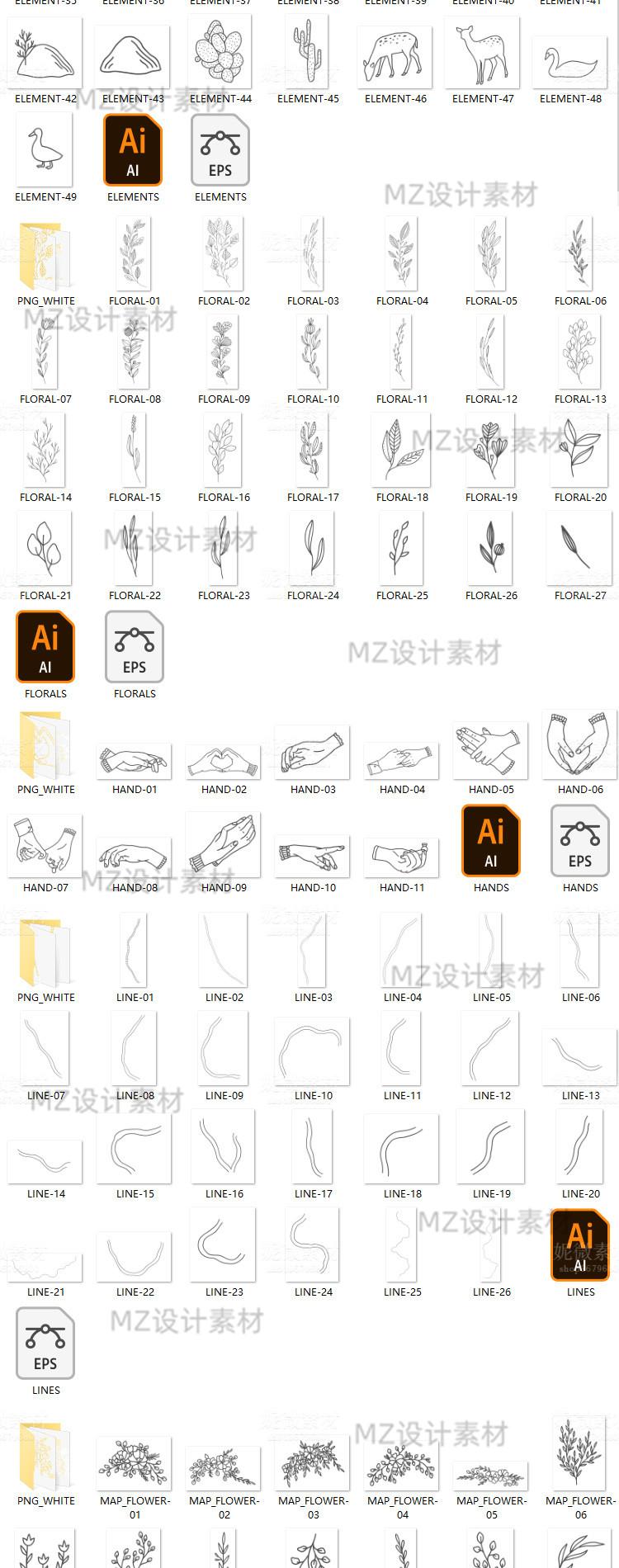 手绘线稿ins风植物动物建筑物花环婚礼地图矢量插画PNG图ps素材 素材包-第5张