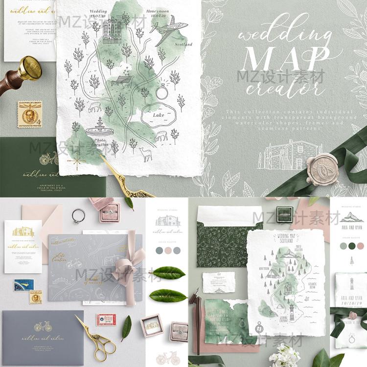 手绘线稿ins风植物动物建筑物花环婚礼地图矢量插画PNG图ps素材 素材包-第3张